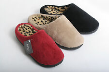 WOMENS COZY LEOPARD PRINT CLOG HOUSE BEDROOM SLIPPERS SHOES BLACK, WINE, TAUPE