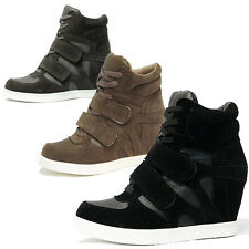 Womens Velcro Strap Suede High Top Wedge Sneakers Lady Trend Hi Top Trainers