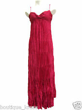 NWT Ann Taylor Eye Catching Pleated Fuchsia Adjustable Straps Full Length Dress
