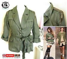WOMAN MILITARY SHIRT SIZE 8-16 ARMY JACKET CARDIGAN BLAZER TOP BLOUSE COAT RETRO
