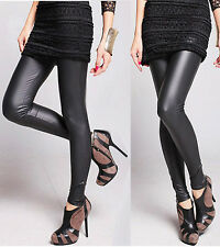 New Ladies Black Faux Leather Look Leggings Wet Look Shiny Tight Anke Length