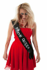 LADIES CHEAP SCARY HALLOWEEN FANCY DRESS COSTUME OUTFIT ZOMBIE PROM QUEEN SASH