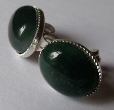 SILVER OR GOLD PLATED GREEN MOSS AGATE EARRINGS  STUD & SCROLL 10mm x 8mm CABS