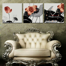 Atractive Lotus Modern Decor Wall Clock On Canvas Set Of 3 FRAMED 4 Sizes