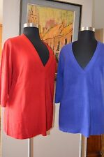 AVENUE Women Plus Size Sweater 2XL 3XL 4XL Red Blue Half Sleeve Pullover 8407