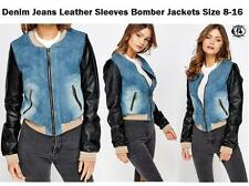 LADIES DENIM JEANS LEATHER SLEEVES JACKET SIZE 8-16 BOMBER BIKER TOP BLAZER VTG