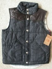 NWT True religion mens western puffer vest in denim/brown leather yoke