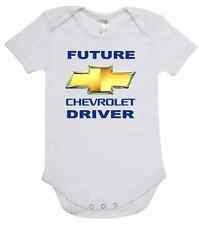 BABY ONE PIECE, ROMPER. ONESIE. printed with FUTURE CHEVROLET DRIVER cotton