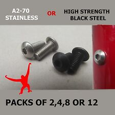 Blanking Bolts for Water Bottle Cage Holes.Button Head.Stainless or  Black Steel