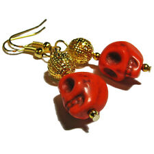 Various Colored Stone Skull  Bead Earrings By SoniaMcD
