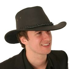 LEATHER AUSTRALIAN STYLE COWBOY HAT BLACK OR BROWN NEW S M L XL