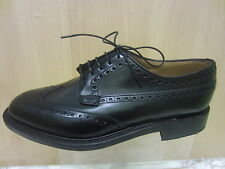 Mens Loake Lace Up Brogue Shoe, Black Leather, Braemar