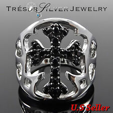 mens sterling silver black cubic zirconia cz cross ring size 5 6 7 8 9 10 11 12