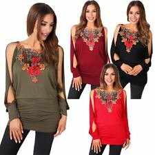 Gothic Boat Neck Skull Foil Butterfly Print Glitter Top T Shirt Blouse Batwing