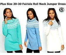 LADIES PLUS SIZE 20-30 ROLL NECK KNITTED JUMPER DRESS FAIRISLE TUNIC SWEATER TOP