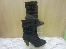 Ladies CoCo Lace And Buckle Zip Heel Ankle Boot 'L8617'