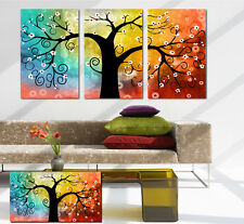 Top Quality Gallery Wrapped Canvas Print Rainbow Tree Money Tree Can Add Clock