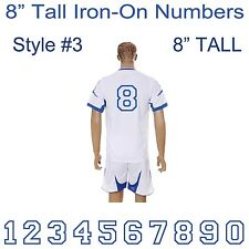 "8"" Tall Iron-On Number for Football Baseball Jersey Sports T-Shirt Style #3"