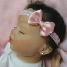 SOFT PINK SATIN DAINTY HAIR BOW LACE HEADBAND ADORABLE EASTER Baby Newborn CUTE