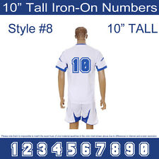 "10"" Tall Iron-On Number for Football Baseball Jersey Sports T-Shirt Style #8"