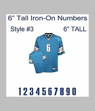 "6"" Tall Iron-On Number for Football Baseball Jersey Sports T-Shirt Style #3"