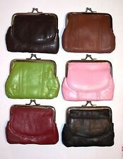 Leather Snap Frame Coin Purse / Mini Wallet w/ Pocket on Front - Choice of Color