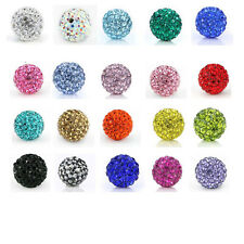 10-100PCS 10MM Pave Disco SHAMBALLA Beads Austria Crystal Clay Balls 27Colors