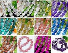 """20mm MOP Shell Zebra Stripe Coin Faced Round Jewelry Loose Beads DIY Making 16""""L"""