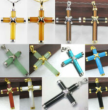 13 colors-green/yellow/red jade-agate-turquoise-tiger eye-shell cross pendant