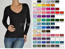 NEW BASIC V NECK LONG SLEEVE FITTED TOP SOLID STRETCH T SHIRT REG n PLUS S-3XL