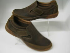 CLARKS MENS CASUAL VELCRO SHOES IN TOBACCO NUBUCK
