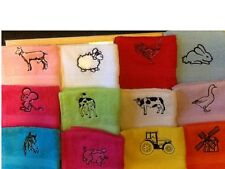 Personalised eygptian face flannel/cloth farm designs,Cow,Sheep,Horse.Pig etc
