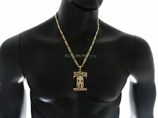 "Iced Out DEATHROW RECORDS Pendant w/ 5mm 24"" Figaro Chain Hip Hop Necklace FMZ79"