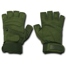 Olive Half Finger Tactical Patrol Outdoor Military Gloves Glove Pair M L XL 2XL