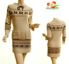 Women Beige Long Sleeve Knit Ribbed Hem Xmas Snowflake Sweater Dress Tunic Top