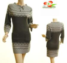 Women Gray 3/4 Sleeve Pullover Ribbed Hem Stretchy Knit Sweater Dress Tunic Top