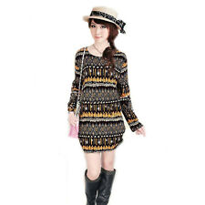 2013 NEW dress womens  Fashion printed Flower Loose long sleeve dress 30 styles