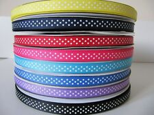 5m Metres 10mm Spotty  Polka Dot Grosgrain/Satin Ribbon 8 colors U pick