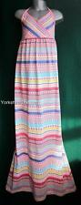 New MONSOON Pink White Stripe SHIRLEY Halterneck Long Party Maxi Dress-3 4 12 13