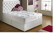 WHITE QUILTED MEMORY FOAM BED DIVAN  MATTRESS  SPRUNG 4FT SMALL DOUBLE FREE P&P