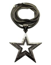 "New Hip Hop Iced Out Star Pendant w/4mm 36"" Franco Chain Necklace. FMP866"