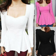 Womens Sexy Sweetheart Neck Puff Sleevle Tunic Fitted Peplum Tops Blouse N542