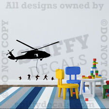 Helicopter Army Men Marines Green Navy SEALS Vinyl Wall Decal Decor Sticker