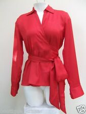 NWT Ann Taylor Long Sleeve Silky True Wrap Red Machine Washable Belted Blouse