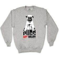 PUGS NOT DRUGS SLOGAN UNISEX SWEATER JUMPER SWEATSHIRT ALL COLOURS SIZES FUNNY