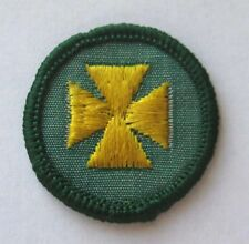 1963-1980 Girl Scout Junior HEALTH AID BADGE Yellow Cross Choose Fabric/Year