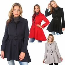 Women Trench Coat Ladies MAC Belted Buttoned Assymetric Tailored Military Jacket