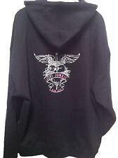 Bon Jovi Black Full Zip Hoodie Embroidered with Heart and Dagger on back