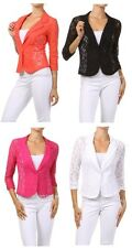 NEW WOMEN CUTE ALL FLORAL SEMI SHEER LACE RUCHED 3/4 SLEEVE JACKET BLAZER S M L