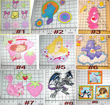 POOH PIGLET COOKIE MONSTER PRINCESS CARE BEARS SHORTCAKE fabric IRON ON APPLIQUE